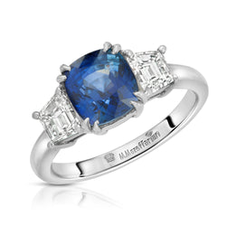 Three Stone Solitaire Sapphire Ring