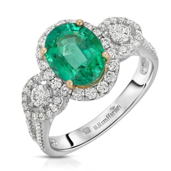 Three Stone Oval Emerald Ring