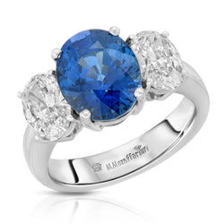 Three Stone Oval Sapphire Ring