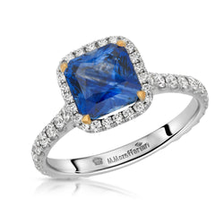 Cushion with Halo Sapphire Ring