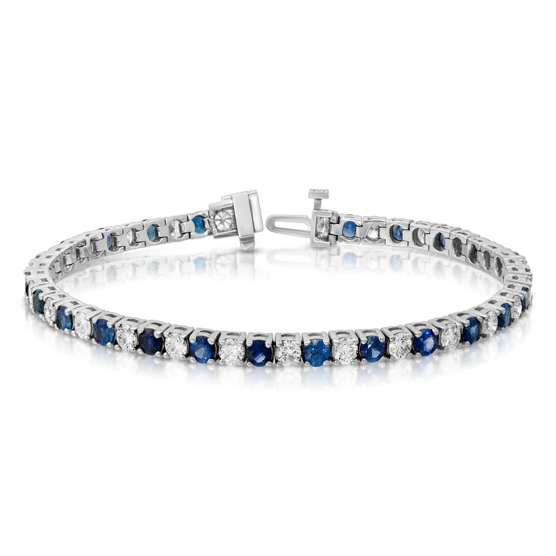 Alternating Blue Sapphire Tennis Bracelet