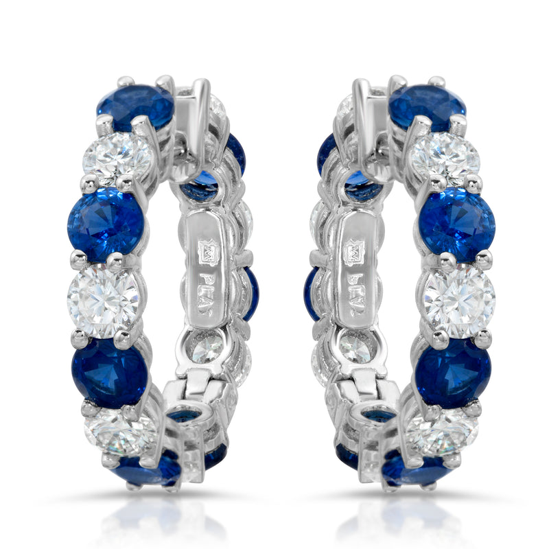 Alternating Sapphire Hoops
