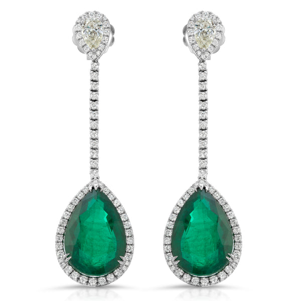 Twin Pear Emerald Earring