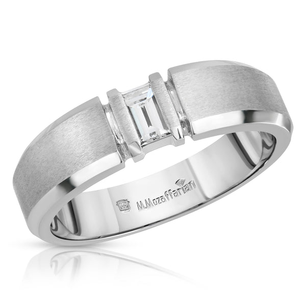 Baguette Solitaire Men's Ring
