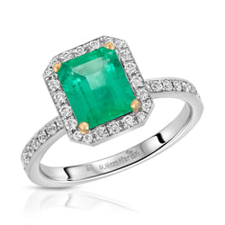 Old Pave Emerald Ring