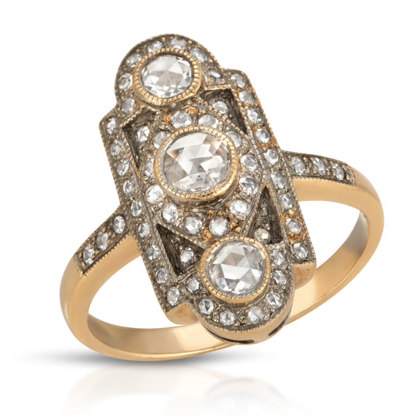 Estate Long Three Stone Ring