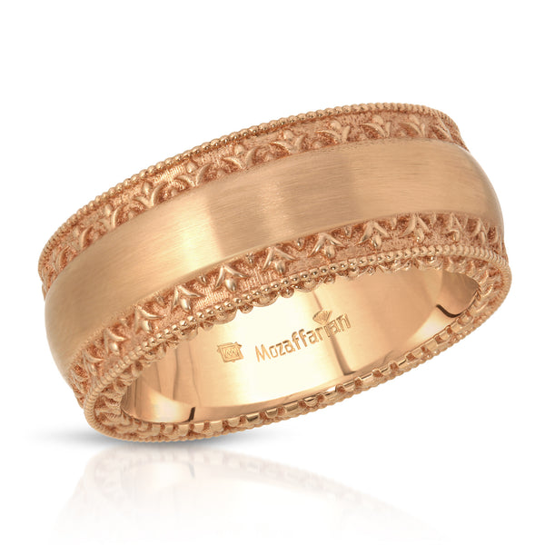 Men's Detailed Rose Gold Band
