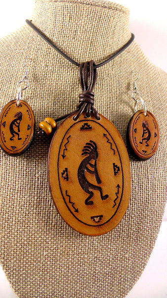 Leather Kokopelli Pendant with Matching Earrings