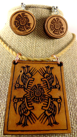 Native American Bird Pendant & Matching Earring Set