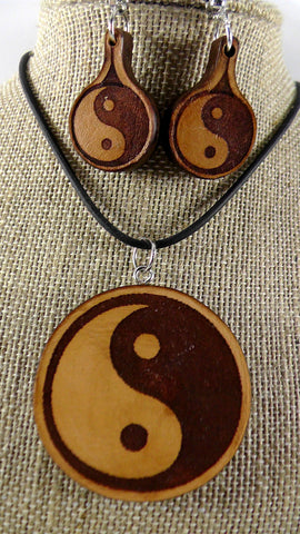 Yin/Yang Round Pendant and Matching Earrings