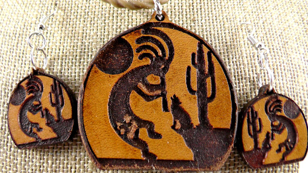 Kokopelli Coyote Leather Jewelry Set