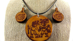 Aztec Set Leather (Pendant & Earrings)
