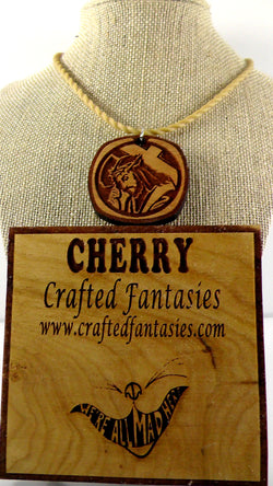 Cherry Wood Jesus with Crown of Thorns Pendant