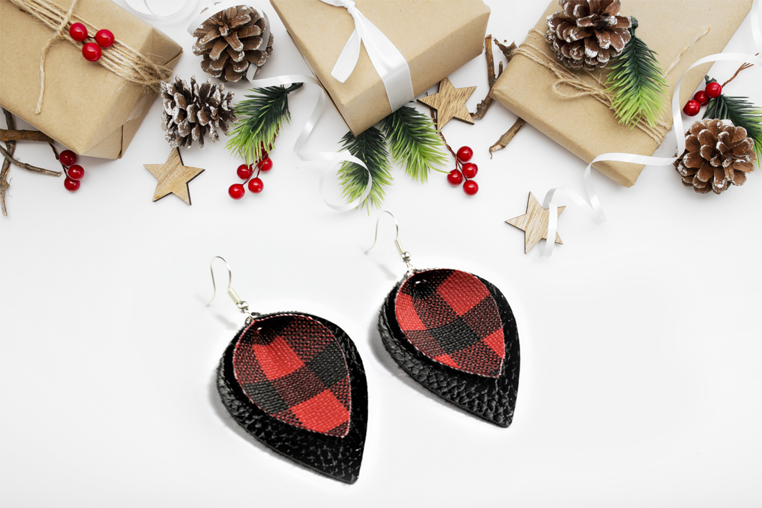 Buffalo Plaid Teardrop Earrings