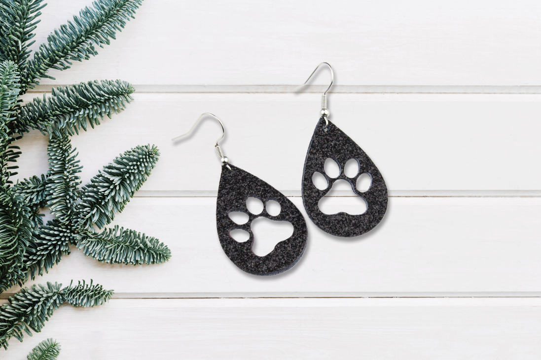 Black Sparkle Paw Print Earrings