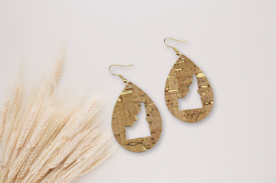 Gold Cork Idaho Cutout Earrings