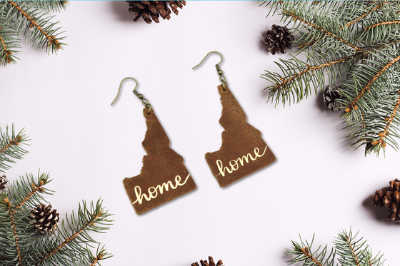 Genuine Leather Idaho Home Earrings