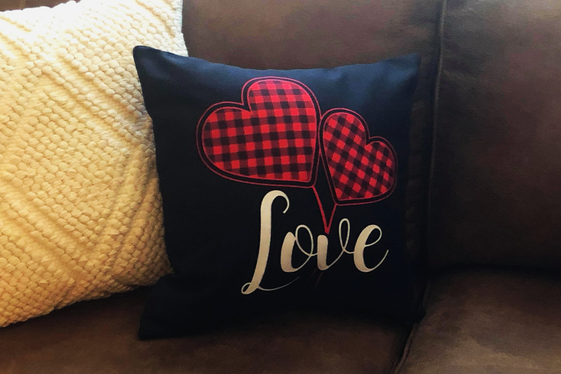 Valentines Day Farmhouse Buffalo Check Plaid Love Hearts Throw Pillow
