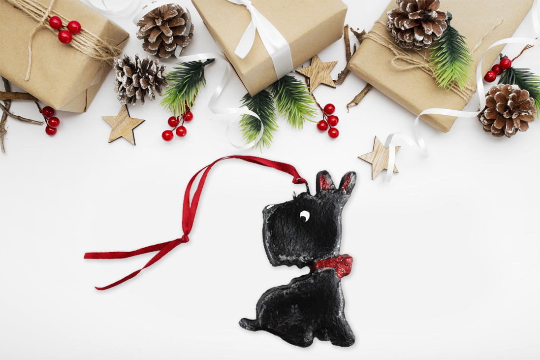 Scottish Terrier Handmade Salt Dough Christmas Ornament