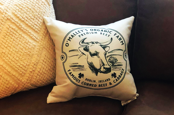 Irish Modern Farmhouse Farm Cow Throw Pillow