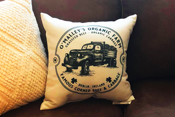 Irish Modern Farmhouse Old Truck Throw Pillow