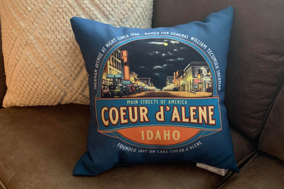 Vintage Coeur d'Alene Idaho Downtown Sherman Avenue Throw Pillow