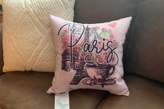 Vintage Take Me to Paris Collage Throw Pillow
