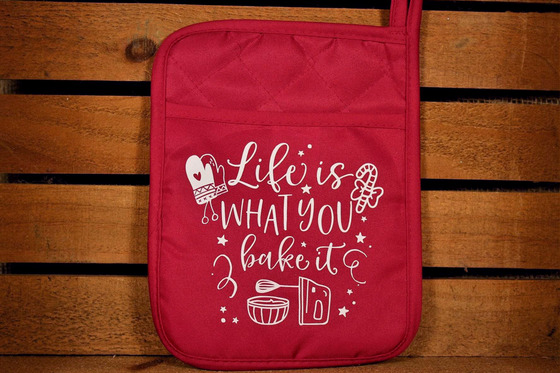 Funny Potholder - Life Is What You Bake It