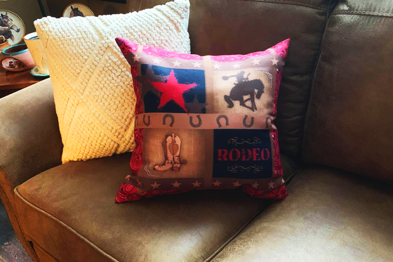 Rodeo Saddle Bronc Rider Home Decor Paisley Cowboy Boots Throw Pillow