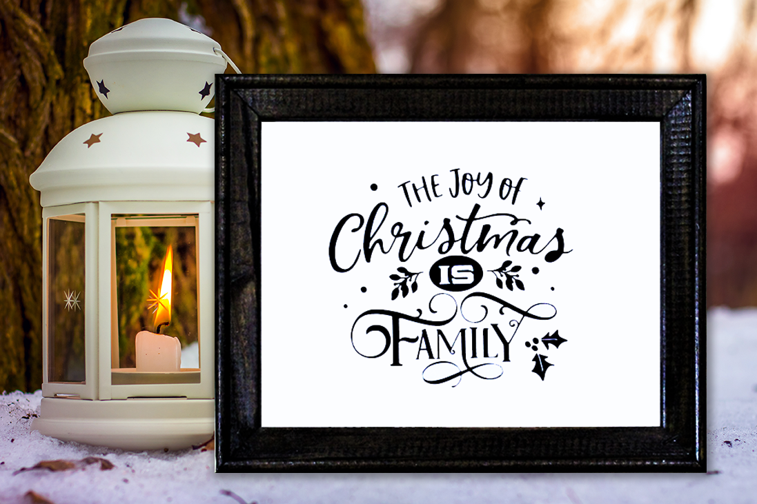 Farmhouse Style Framed Sign - The Joy of Christmas is Family