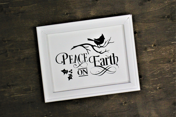 Farmhouse Style Framed Sign - Peace on Earth