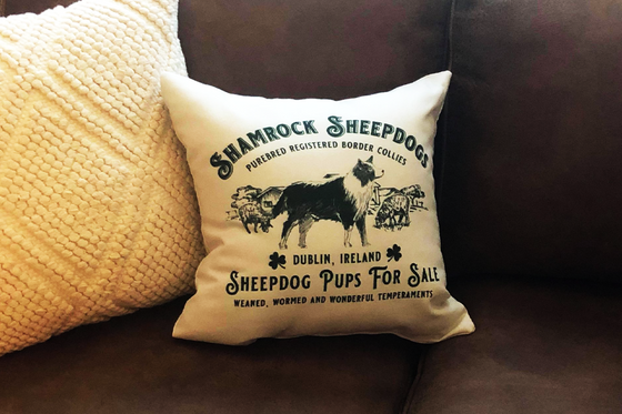 Irish Farmhouse Shamrock Sheepdog Throw Pillow