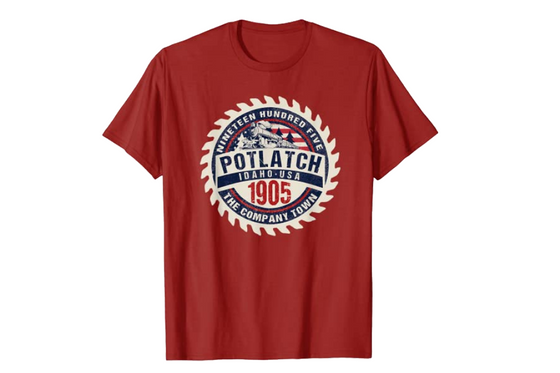 Potlatch Idaho Historical Commemorative Keepsake Souvenir T-Shirt