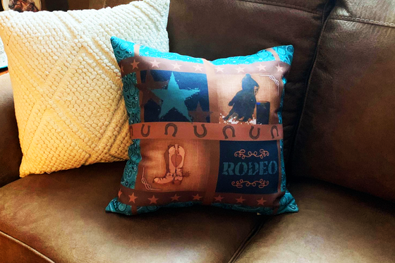 Rodeo Racer Home Décor Paisley Western Barrel Racing Throw Pillow