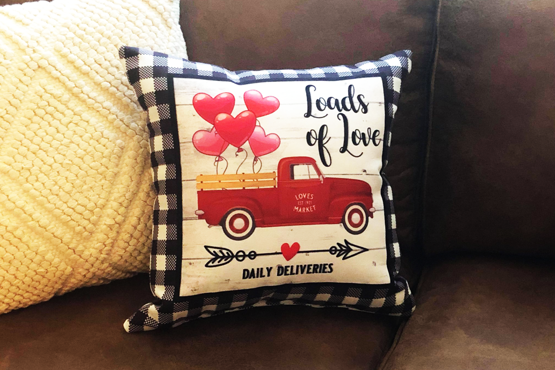 Valentine's Day Old Farmhouse Truck Throw Pillow