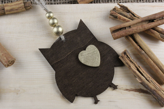Rustic Wood Owl Heart of Gold Ornament