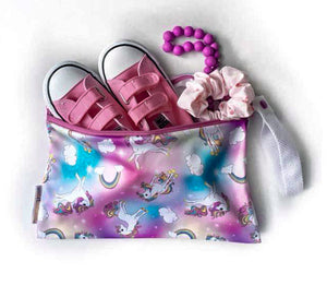 Smart Bottoms - Small Wet Bag - Chasing Rainbows print - cute rainbows and unicorns print waterproof cloth diaper bag