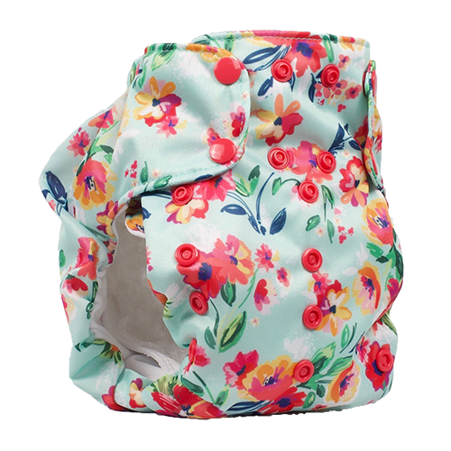 Smart Bottoms - Dream Diaper 2.0 cloth diaper - Aqua Floral print - organic cotton cloth diaper