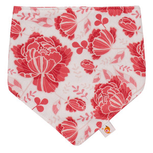 Smart Bottoms - Bandana Bib - Stella - Red flowers print - absorbent and cute bib