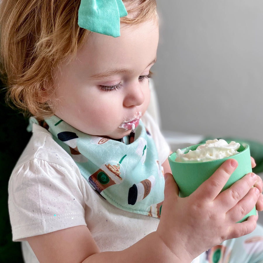 Smart Bottoms - Bandana Bib - Daily Grind - Green coffee print toddler drool bib