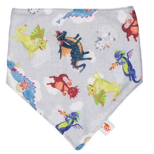 Smart Bottoms - Bandana Bib - Dragon Dreams - Dragon print bib - cute dragons cotton baby bib - super absorbent baby bandana bib
