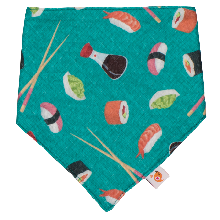Smart Bottoms - Bandana Bib - You're My Soy-Mate - Green with sushi print bib - cute sushi print cotton baby bib - super absorbent baby bandana bib