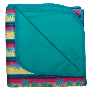 Smart Bottoms - Beach Blanket -  Tropic Like It's Hot Print - Waterproof back beach blanket - tropical palm trees print beach blanket