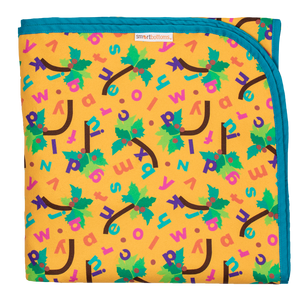 Smart Bottoms - Beach Blanket - Chicka Chicka Boom Boom - waterproof beach blanket - yellow blanket with alphabet letters