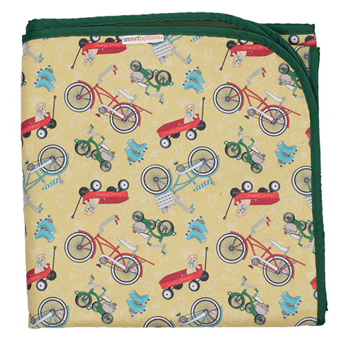 Smart Bottoms - Beach Blanket - How We Roll Print - Waterproof beach blanket - Vintage bikes and roller skates print