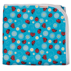 Smart Bottoms - Beach Blanket - Little Ladybugs Print - Waterproof back beach blanket - blue with ladybugs print beach blanket