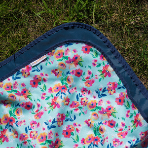 Smart Bottoms - Beach Blanket -  Aqua Floral Print - Waterproof back beach blanket - floral print beach blanket