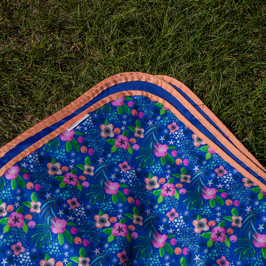 Smart Bottoms - Beach Blanket -  Isla Flor Print - Waterproof back beach blanket - tropical island flowers print beach blanket