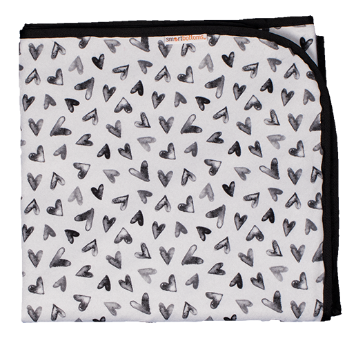 Smart Bottoms - Beach Blanket - Nurture Print - Waterproof beach blanket - Black and white hearts print