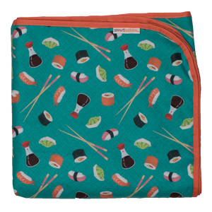 Smart Bottoms - Beach Blanket - You're My Soymate sushi Print - Waterproof beach blanket - teal color beach blanket with sushi print